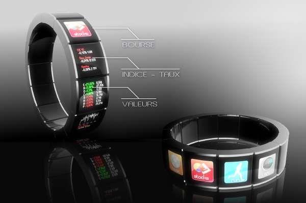 Touchscreen Bracelets - F. Bertrand's Watch the Future is Like a Wearable Smartphone (GALLERY)