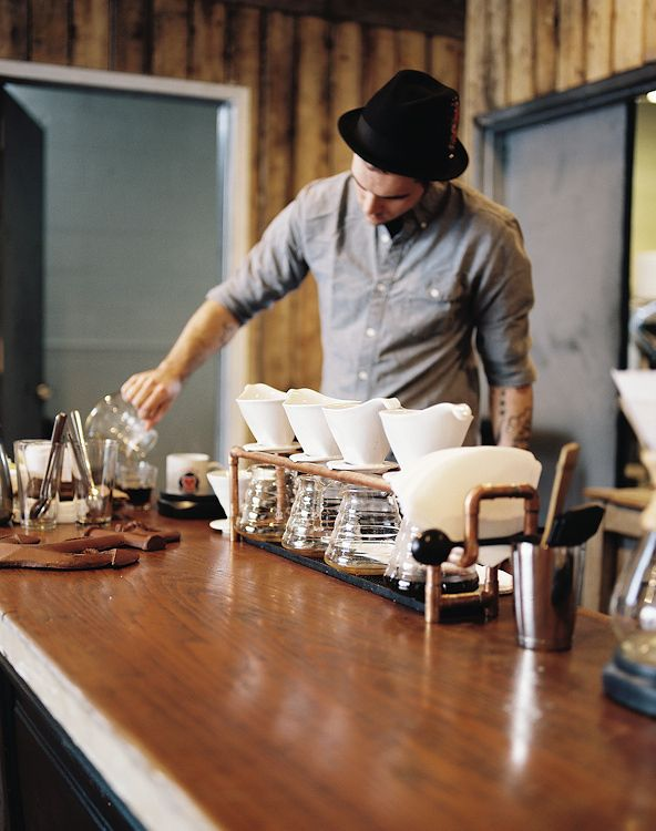 Joan Cuenco | Stumptown Coffee. A pour over station is a beautiful set up. we love to highlight blends, separated in each cone...for a truly unique experience