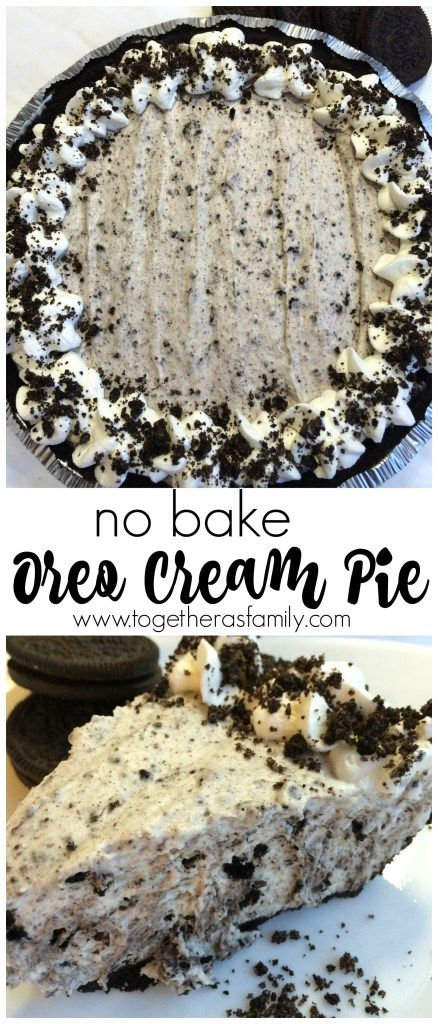 (no bake) OREO CREAM PIE | www.togetherasfamily.com