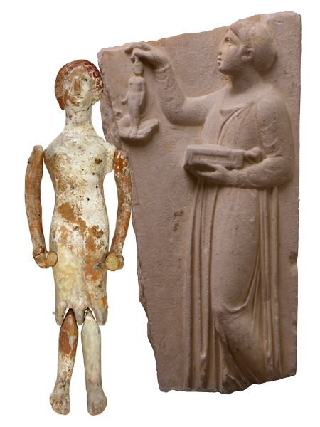 Girls' dolls.Doll from tomb at Tanagra and grave stele from Athens.425-400 B.C.(doll) and early 4th century B.C. (grave stele).Dolls were made of wax, wood, ivory but, above all, of clay and were the favourite toys of girls in antiquity.On grave stelai of girls who died young, the deceased are represented holding such a doll in the presence of their mother or the slave, the scene being set probably in the women's apartments, where the society of the time kept them.