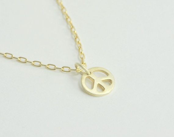 Solid 14K Gold Peace Sign Necklace by ShopEliAndLeah on Etsy