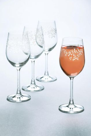 Buy Set Of 4 Floral Wine Glasses online today at Next: Israel