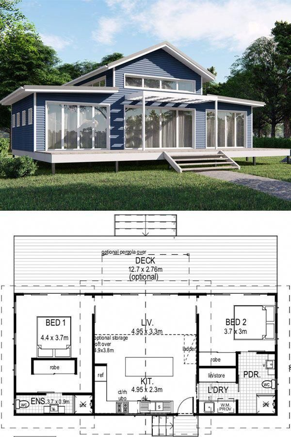 Bangalow Architecturally Designed Tiny Kit Home 74m2 50 350 Aud Imagine Kit H Small House Design Australia Beach House Floor Plans House Plans Australia