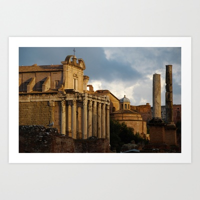 Roman Ruins Art Print by jacthegirl - $18.00 The sun setting over a fallen empire