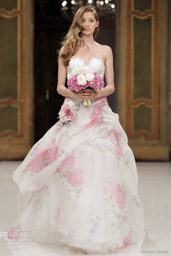 Floral Print Wedding Dress ** love the girl who would wear this.