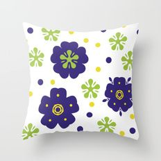 Colorful Japanese geometric flowers Throw Pillow