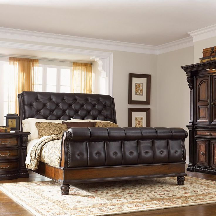 Grand Estates Bedroom Package Queen Leather Sleigh Bed