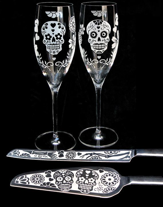 Day of the Dead Wedding Cake Server and Knife Dia by bradgoodell, $140.00