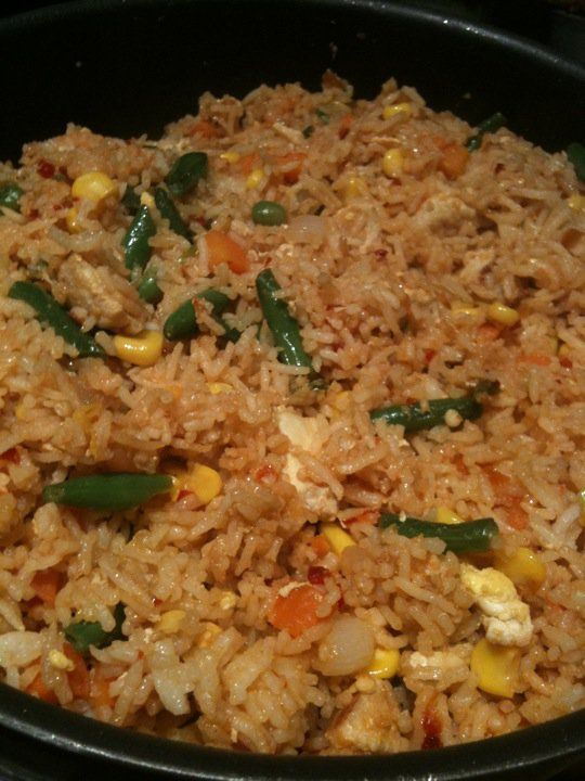Chicken fried rice. When I'm feeling lazy, I make it with frozen mixed vegetables, but I prefer fresh.
