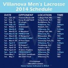Men's lacrosse: Villanova releases 2014 schedule; includes 10 ranked teams - http://phillylacrosse.com/2013/10/22/mens-lacrosse-villanova-releases-2014-schedule-includes-10-ranked-teams/
