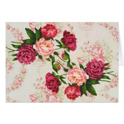 Pretty Pink Roses Large Font Birthday Card - diy cyo customize unique special