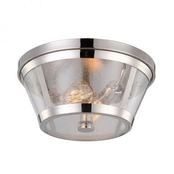A contemporary look to an industrial design flush fit ceiling light with a polished nickel tapered structure and a clear seeded glass shade. It takes two standard 60 watt bulbs and can be switched using a standard switch or dimmer switch. This would be suitable for use in any modern setting and would be great for kitchens and rooms with lower ceilings.