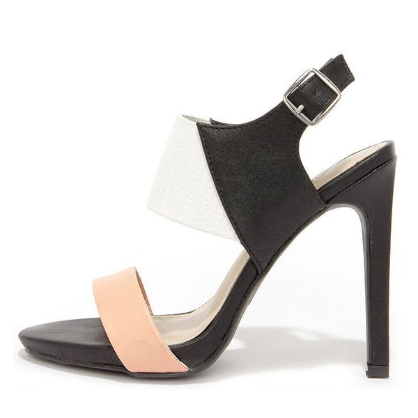 Baby Got Block Black Multi Color Block High Heel Sandals ($34) ❤ liked on Polyvore featuring shoes, sandals, black, black strappy stilettos, high heels stilettos, black sandals, strap sandals and multi color sandals