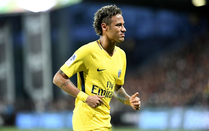 Download wallpapers Neymar, 4k, PSG, soccer, football stars, Ligue 1, Paris Saint-Germain, footballers, Neymar JR