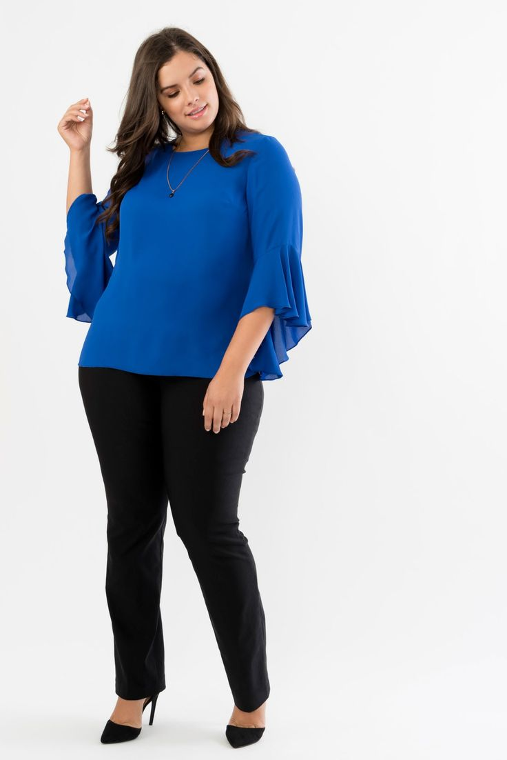 Flutter Sleeve Chiffon Blouse with Back Tie plus size fashion