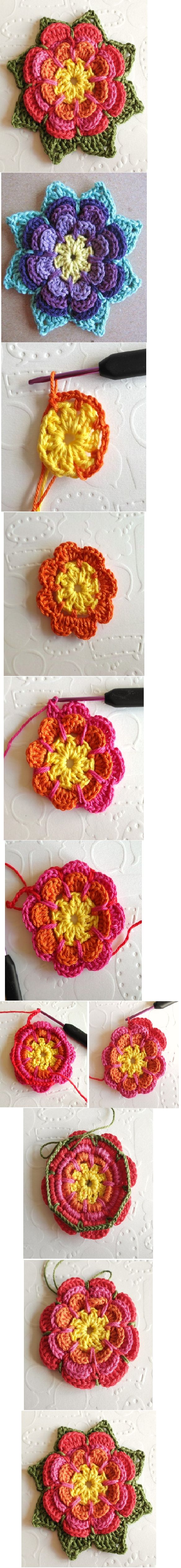 flower crochet motif - quick tutorial! Love this pin's format.. can never have enough of these photo tutorials, and this one also has some interesting color combo ideas.