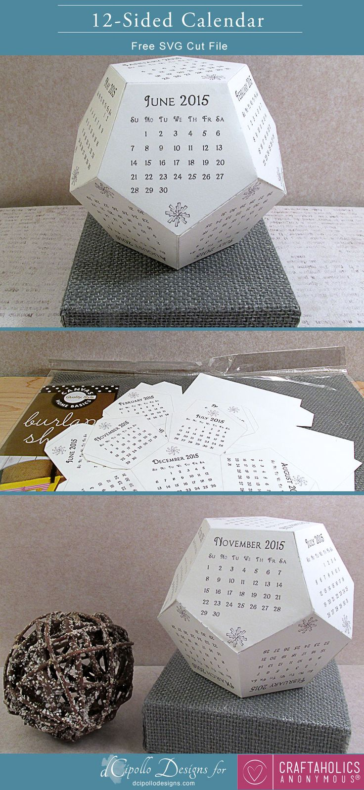 12 Sided Calendar: Free SVG Cut File | Craftaholics Anonymous®