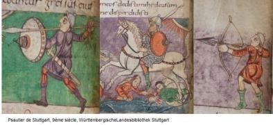 Costumes militaires (psautier de Stuttgart, IXe siècle)
