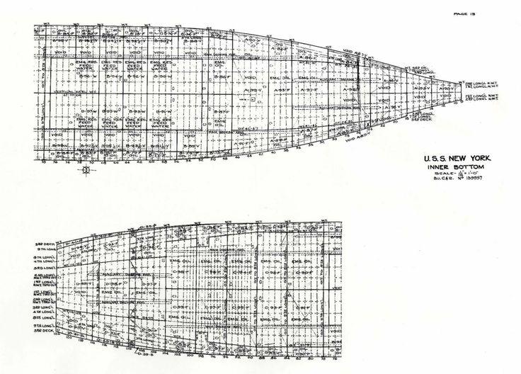 USS New York BB34 Outboard Profile Plans Drawings Blueprints   - new blueprint gun art
