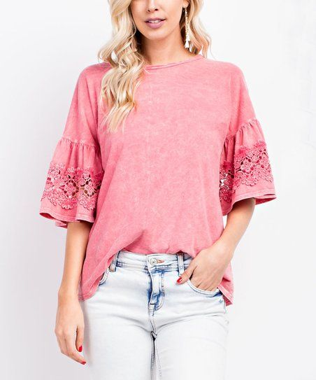 Strawberry Lace Bell Sleeve Crewneck Top Women Zulily Blouses