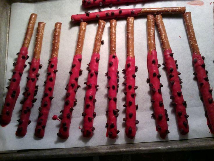 Ladybug pretzels sticks