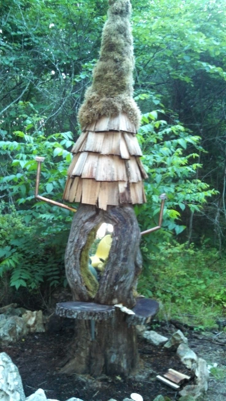 Tree stump fairy house - Old Rotten Tree Stump Turned Into A Fairy House Notice The Back Steps The Picnic Table