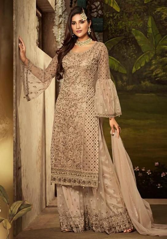 e3277b57a81 Embroidery Work Party Wear Sharara Style Salwar Suit in 2019 ...
