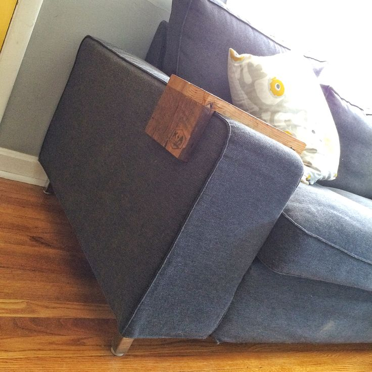 Kivik Couch With Besta Legs And Wood Arm Wrap Ikea Hacks