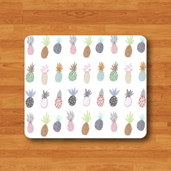 Pineapple Drawing Cartoon Mouse Pad Love Fruit Printed Rubber MousePad For Girl Desk Deco Work Pad Mat Rectangle Personal Gift Hipster Teen (12.00 USD) by SugarGiraffe