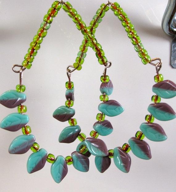 Earrings beaded chandelier Funky green beads by AnAstridEndeavor