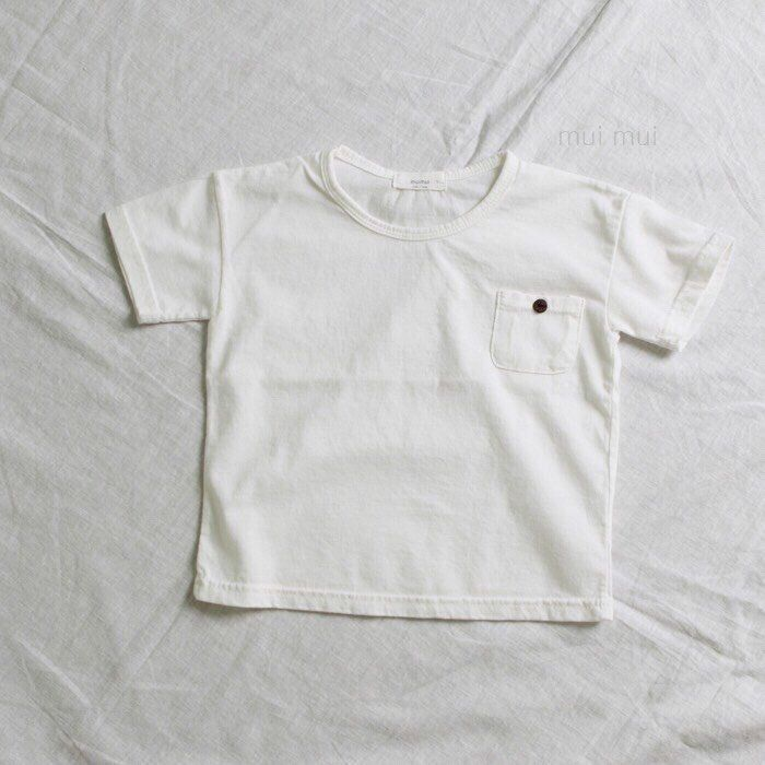 Kids Boys Girls Simple White Color Top T-shirt With Button Pocket / 2-3y #Unbranded