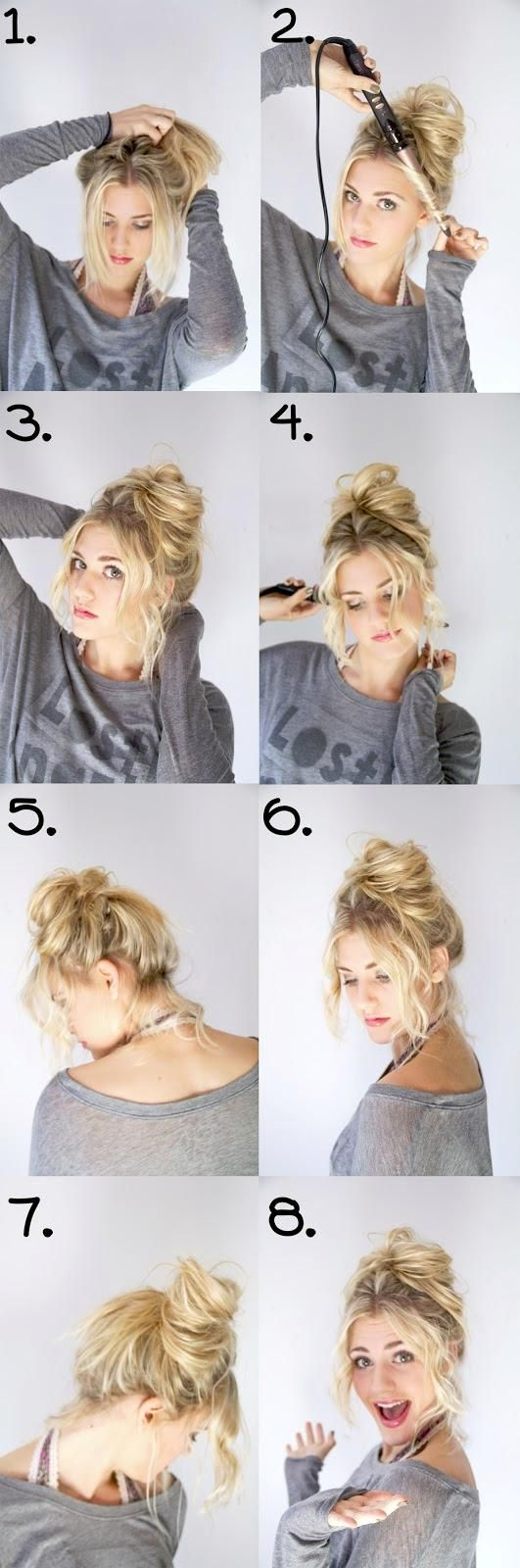 This pin pisses me off. At no point does it show how to make the messy bun, just the freakin' bangs. Whatever, I'll stare at it til I figure it out.