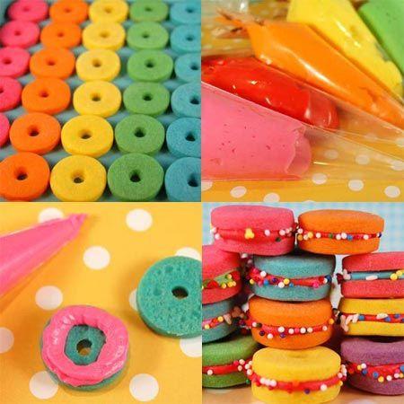 de colores rellenos con glas o dulce de leche