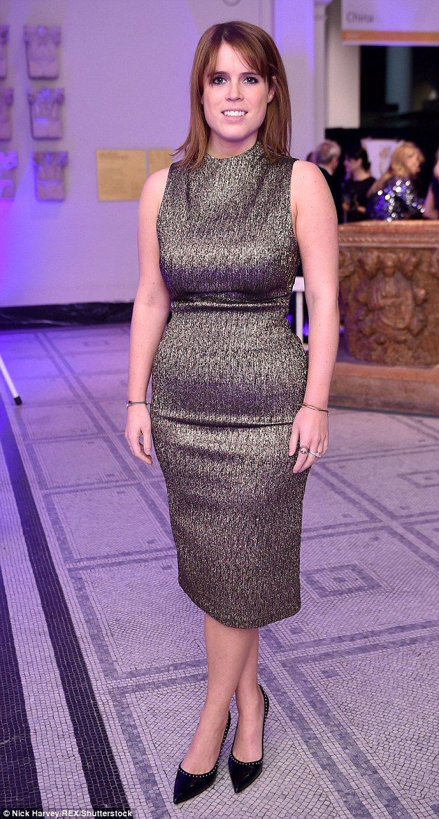 Princess Eugenie of York, 26, looked chic in a jacquard silver dress at the Conservation C...
