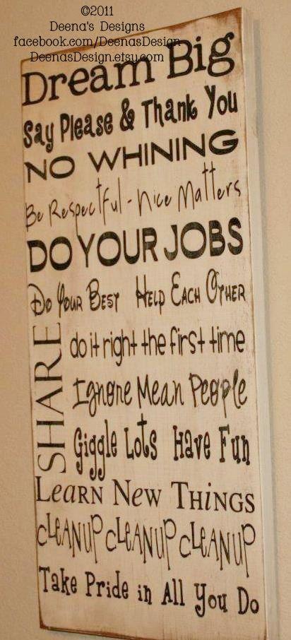 House Rules Sign, Subway Art,  Distressed Wall Decor, Custom Wood Sign, Typography Word Art - Dream Big