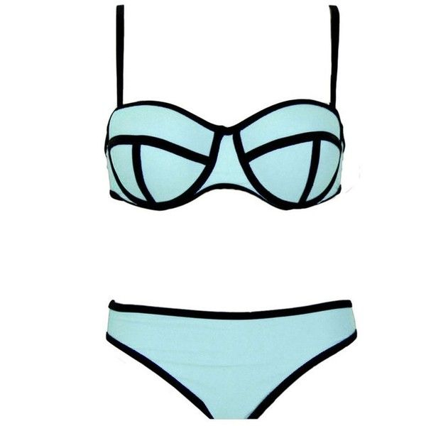 Bestgift Womens Luxury Color Conjoin Push Up Bikini Set Swimwear (£4.08) ❤ liked on Polyvore featuring swimwear, bikinis, push-up bikinis, push up swimwear, push up bikini, bikini two piece and push up bikini swimwear