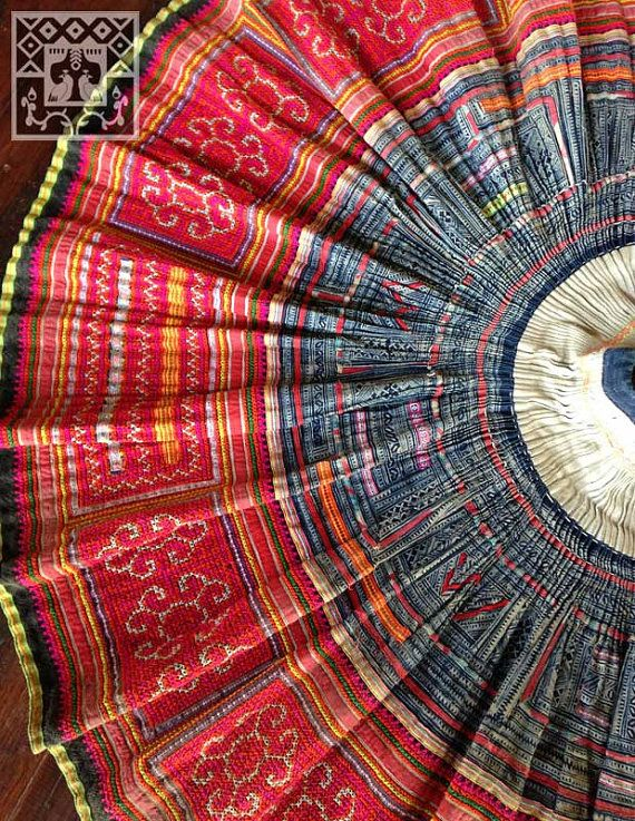 Vintage Hmong fabric handmade batik cross stitch by KutchiKooTribe, $89.95