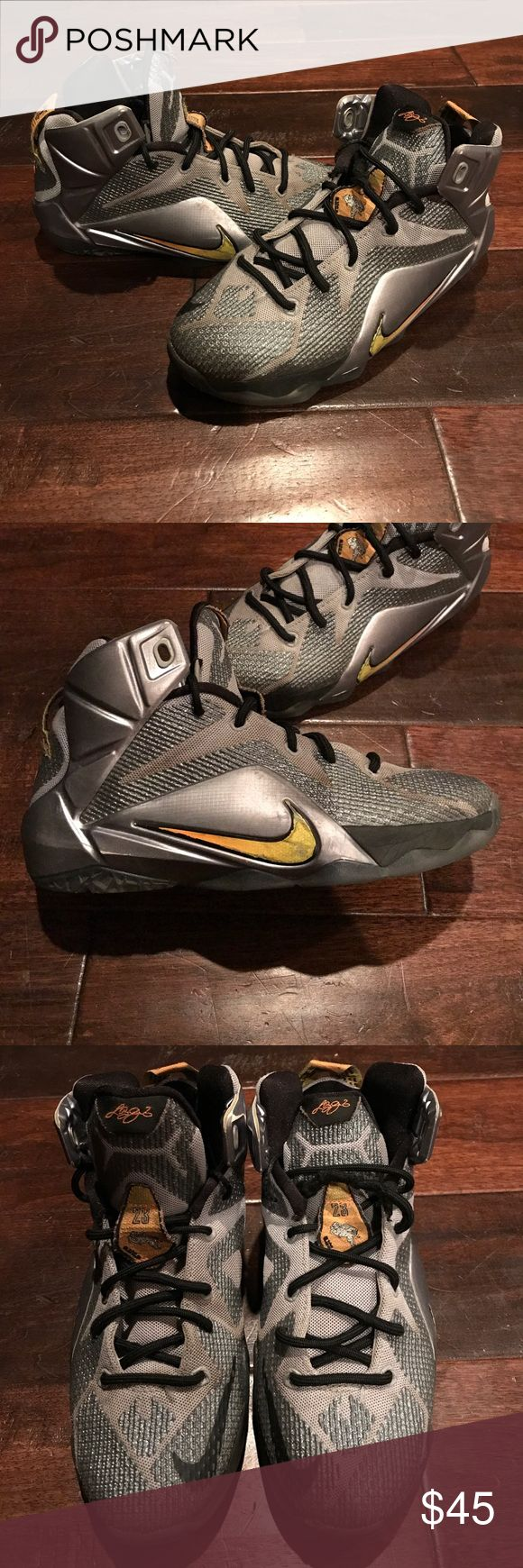 NIKE LEBRON JAMES 12 GREY BLACK SILVER YELLOW NIKE LEBRON JAMES 12 GREY BLACK SILVER YELLOW BOYS SHOES. Light wear needs new laces price reflects condition. Nike Shoes Sneakers
