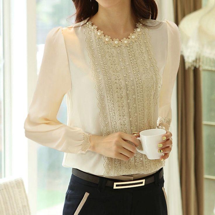 2015 primăvară nouă bluze bluze versiunea coreeană bottom gât rundă de primăvară cu mâneci lungi tricou larg Song Leisi feminin cămașă sifon - Zuru air Services