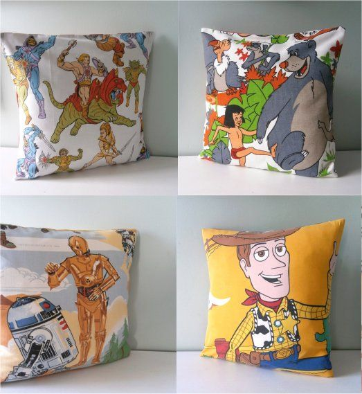 thrifted 70s 80s bedding duvets upcycled into pillows for kids bedroom - my kid has he-man & star wars in his 80s style room :)