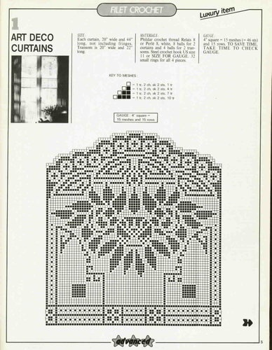 art deco curtains in filet crochet sewing knitting. Black Bedroom Furniture Sets. Home Design Ideas