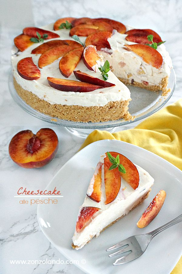 Cheesecake alle pesche senza cottura - No bake Peach Cheesecake | From Zonzolando.com