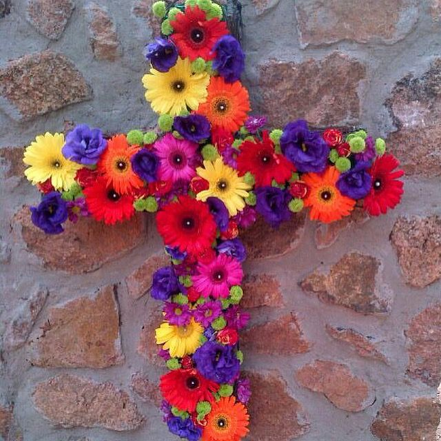 Cross with colorful flowers. Done by Blushing Rose