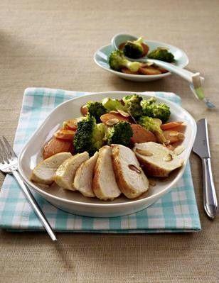 Hähnchenfilet zu Brokkoli und Möhren (Eiweißgericht, Schlank im Schlaf)