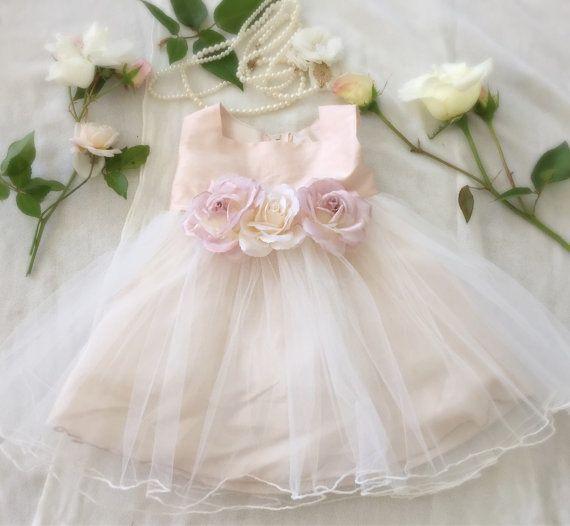 Rose Gold Flower Girl Dress Baby Girl Dresses for Spring and Easter by PurdyGurly.com Purdygurly.Etsy.com