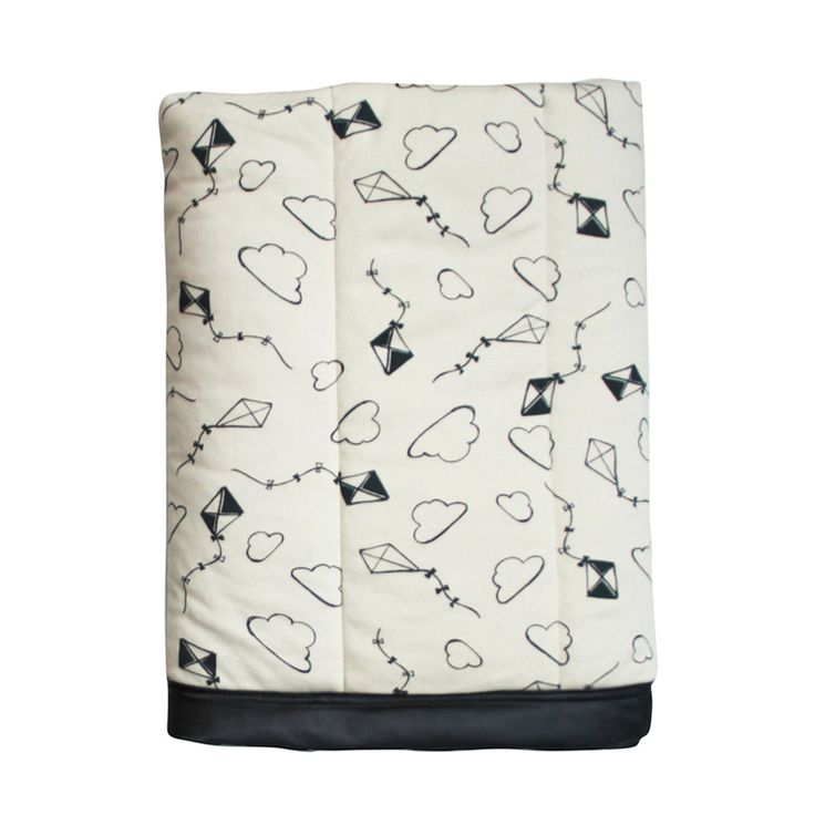 Cot Quilt - Kites With front and back layers of 100% certified organic cotton knit, low-allergy polyester wadding fill, and finished with a silky satin bind,  this cot-sized quilt has a luxurious handle & finish and is generously sized (105cm x 140cm) so that you can tuck baby/toddler in and make them really cosy. Doubles as a play mat and is big enough as your child grows to turn into a snugly throw.