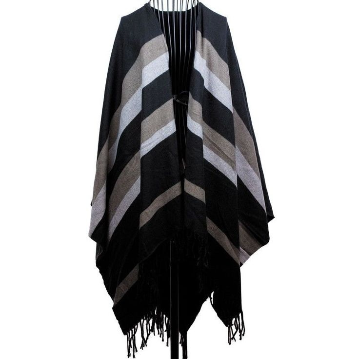 Earth Tone Striped Cape with Frilled Edges Oversized One Size Fits Most NWT #Simi #Cape #Everyday