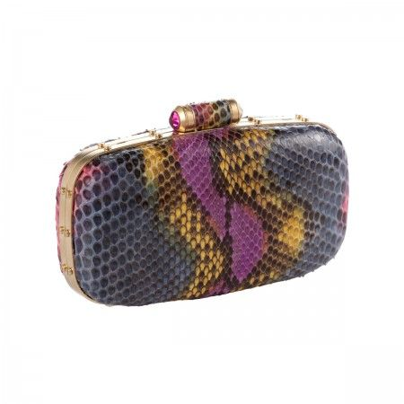 Lacrom - Maria Biandr - Pat Metal and phyton clutch with shoulder strap.  Hand-painted phyton.  Fuchsia Swarovski strass.