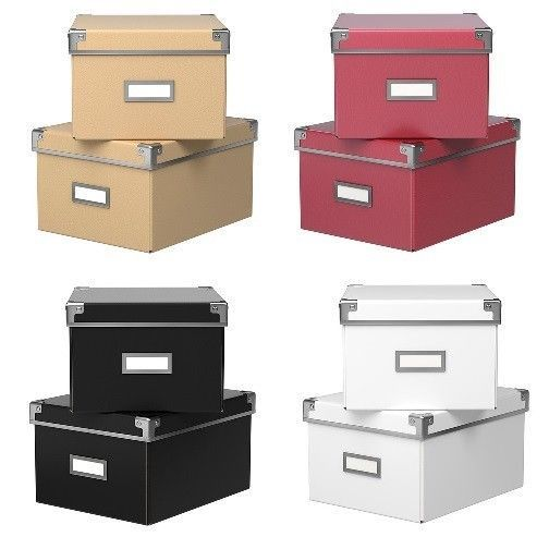 Details About IKEA Kassett DVD Storage Boxes With Lids 2 Pack Box With Lid  Various Colors, NIP