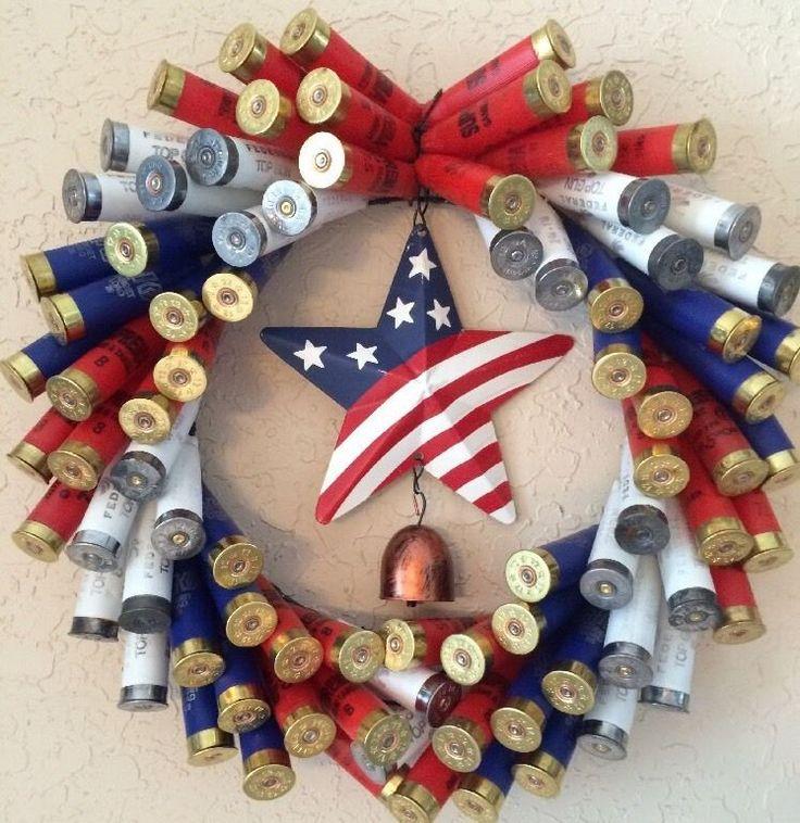 Shotgun Shell Wreath w 12 GA Patriotic Red White Blue Shotgun Shells w Star | eBay